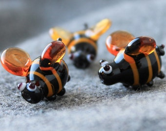 Lampwork, Glass Bumble Bee Beads, Handmade Glass, Lampwork Bee Beads, Insect Beads