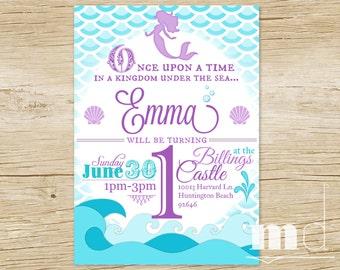 Mermaid Birthday Party Invitation, Little Mermaid Birthday Invite, Ariel Princess Party, Mermaid Scales Birthday Invite, Sea, PRINTABLE
