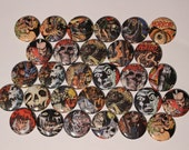 30 Horror Designs Comic Book Style Flatback or Pinback buttons 1 inch