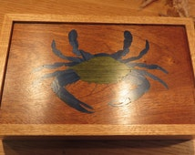 Blue Crab Marquetry Box