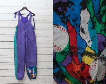 Snowboarding Pants / 1990s Vintage Purple Skiwear Onepiece Snow Suit Pants / Size 164 / Multicolor Children Childs Snowboarding Gear