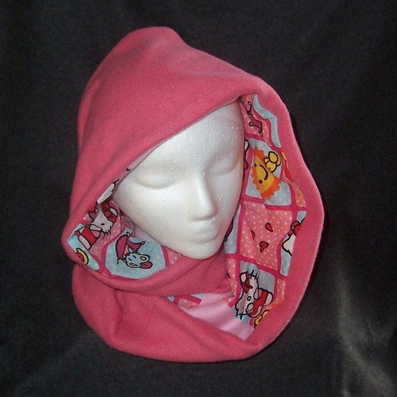 hello infinity scarf fleece and printed fabric pink