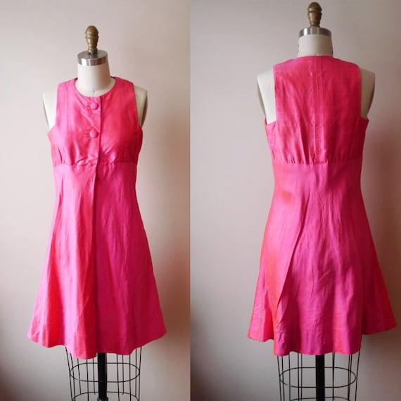 1960s fushia silk mini dress // MOD // vintage dress