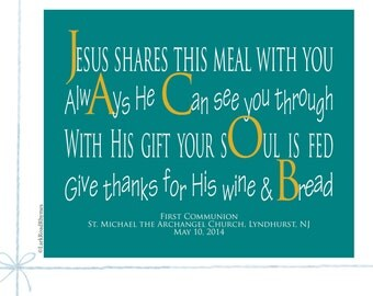 First Communion Religious Wall Art Prayer Print Christian Gifts Godchild Gifts For Godson Personalized Gifts Custom Name Poem 8x10 Jacob
