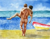 "PRINT of Original Art Work Watercolor Painting Gay Interest Male Nude ""On the beach"""