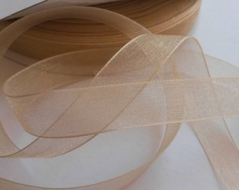 """Sheer toffee 5/8"""" ribbon, 5 yards (180 inches)"""