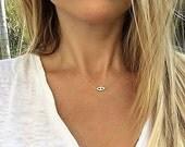 Harmony Evil Eye Necklace, Gold Evil Eye, Diamond Evil Eye Necklace, Hamsa Necklace, Protection Necklace