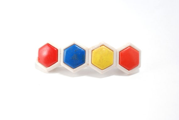 1960 Colorful Hexagon Geometric, Hair Clip Barrette, Orange Blue Yellow Red White Color 60s 70s