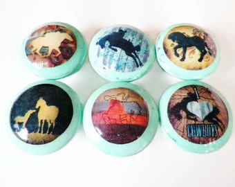 Set of 6 Horse Theme Dresser Knobs..Rustic Distressed Turquoise Furniture & Cabinet Pulls Cowgirl Decor Cabinet Hardware