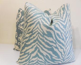 "Aqua Zebra throw pillow - Designer Pilllow Cover - 18 x 18 - 20"" x 20"" Ikat Cushion"