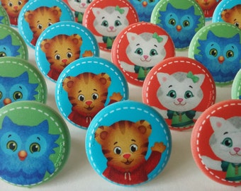 24 PBS Kids Daniel Tiger's Neighborhood Mr. Rogers rings for cupcake toppers cake birthday preschool favors Katerina Kittycat O Owl Tiger
