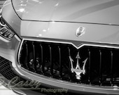 Maserati,Photography, fine art Photography, Black and white, wall art, home décor, car photography, vintage, truck, auto, gift, print