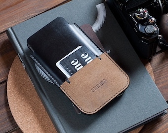 Schwarz Horween Chromexcel iPhone 6 Plus Case Sleeve Ledermappe.
