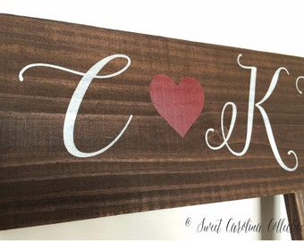 Rustic Bride and Groom Directional Sign with Heart - WS-144