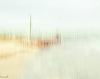"""Beach Print """"Jetty on the Bay"""" Ready to Frame, Muted tones, Impressionistic Seascape,  Fine Art Print, Melbourne"""