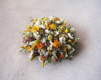 Wedding spring yellow white cake topper , dried flowers cake topper ,rustic ,woodland wedding cake topper
