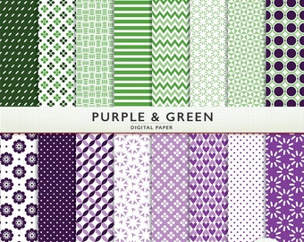 Purple & Green Digital Paper -  Scrapbooking and Digital Craft - Personal Commercial - G7763