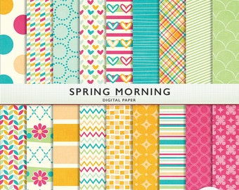 Spring Morning Patterns Pastel Digital Paper -  Personal and Commercial Use - Instant Download  Cardstock G7367