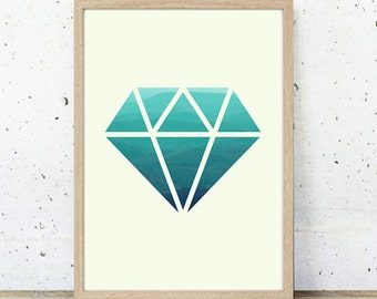 Illustration Poster Print  'Diamond' A4 or A3