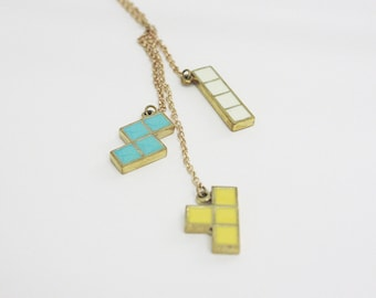 Tetris Set Pendant Necklace - Fashion Hipster Jewelry for Her - Brass Enamel Accessories