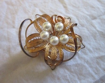 Vintage Amazing Filigree & Faux Pearl Large Brooch Lovely