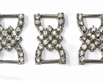 3 PCS Metal Rhinestones Bow Tie Belt Buckles