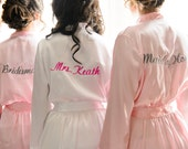 Personalized MRS. Embroidered Silk Bride Robe and Bridesmaid Robe
