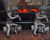 Vintage Bronze Cherubim Sculpture - Fireside - Cherub Fireplace Mantle Decoration -  Cottage Chic Home Decor