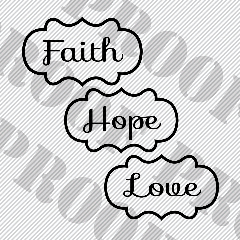 Download SVG Files Set of 3 Cut Files-Faith Hope Love-Digital File