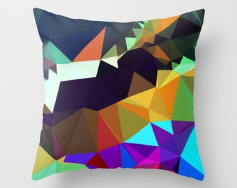 Outdoor Pillow Cover, Geometric Throw Pillow Cover, Brown, Orange, Yellow and Blue Pillow Cover, Graphic Design Pillow Cover