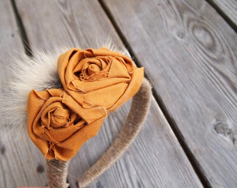 Rustic Gold Rose Bud, Coyote fur and rope headband