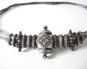 Antique Rajasthani India Silver Belt With Large Ornate Buckle And 2 Plaited Ropes