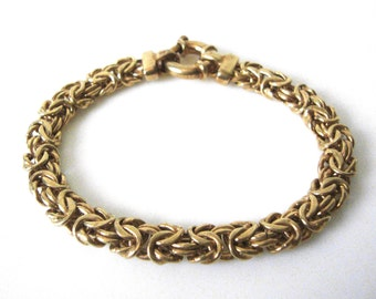 Vintage Gilt Sterling Silver Byzantine Chain Link Bracelet Made In Italy