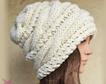 Slouchy cable style beanie hat - CREAM - womens chunky - accessories - baggy slouch - thick & extra warm - gift