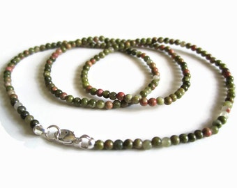 Dainty Unakite & Sterling Silver Necklace