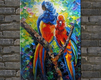 Original oil painting,birds painting,parrot painting,palette knife painting by Enxu.Zhou,impasto,heavy texture,framed,huge 36''