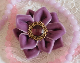 Handmade Velvet Rose (2.5 inches) In Amethyst MY-318-02 Ready To Ship