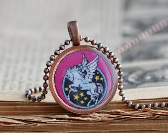 Penny pendant with Pegasus