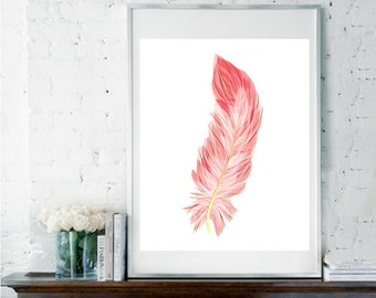 Pink Feather, Feather Art, Feather Print, Fashionista Print, Bedroom Decor, Pink Wall Art, Watercolor Print, Nursery Art, Girly Gift