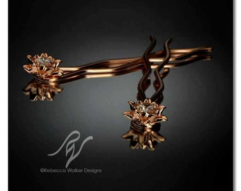 Lily Hairpins with 6mm Swarovski CZ   Rose Gold (set of 2)