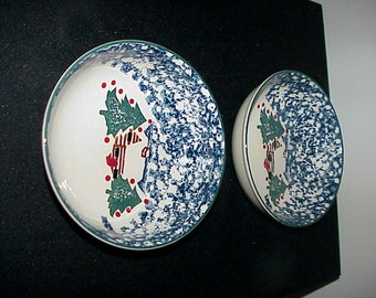 2 Tienshan Folkcraft Cabin In The Snow Soup/Cereal Bowls NEVER USED