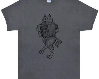 Wolf Playing Accordion T Shirt.Mens Gildan Ultra Cotton Adult Tee.Accordion Shirt.Wolf T Shirt.Wolf Tee.Wolf Shirt.Wolf Clothing.Black Print