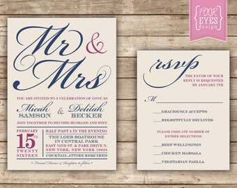 Mr. & Mrs. Wedding Collection - DIY Printable File (Invitation and RSVP)