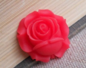6 pcs of resin rose bud cabochon-25x26x12mm-RC0453-40-red
