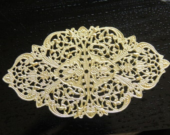 2 pcs of brass filigree charm 150x68mm-raw brass-1952