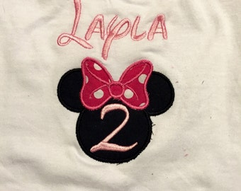 Minnie Mouse Birthday Applique Embroidered 12 Months to 4T