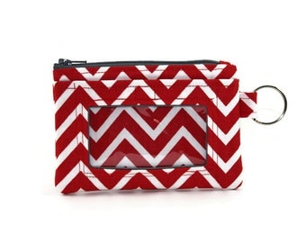 ID Wallet / Keychain Wallet / ID Holder in Red and White Chevron