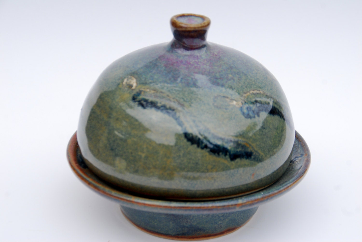 Handmade Pottery Ceramic Butter Dish With Lid By