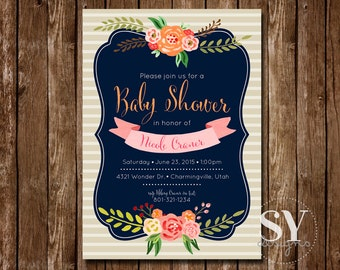 Stripes and Flowers Baby Shower Invitation Printable - Digital File