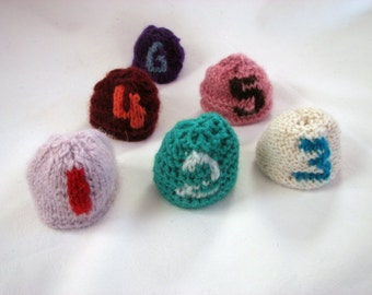SALE Knitted Individual Egg Beanie/Cosy with Numbers